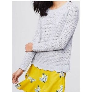 LOFT Scallop Hem Pointelle Sweater